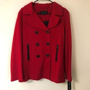 Black Rivet Red Wool Peacoat